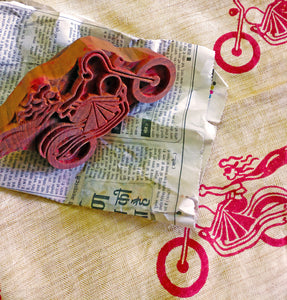 image of the first original block print fabric of MIRCHI KOMACHI, the block and the printed fabric