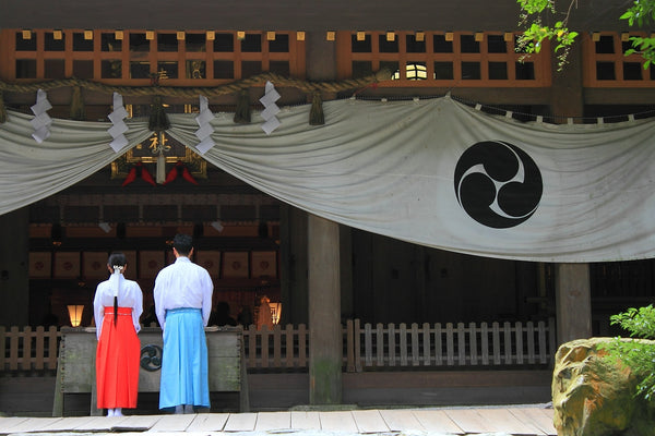 Japanese Shinto shine and attendants