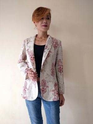 MIRCHI KOMACHI ladies / women's casual beige cotton light womens / ladies blazer jacket with Hands of Fatima print.  Shop online!