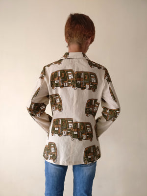 Blazer Jacket - Rickshaw Print (Brown)