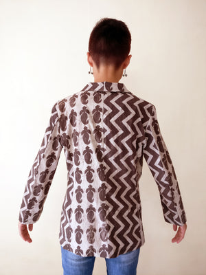 Blazer Jacket - Mirchi And Geometric Print