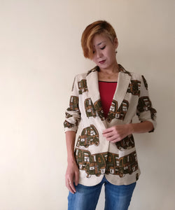 MIRCHI KOMACHI ladies / women's beige cotton light casual blazer jacket with cute rickshaw print (brown).  Shop online!