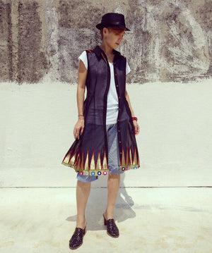 Styling example of MIRCHI KOMACHI Silk Chanderi Shirt Dress (black plain)