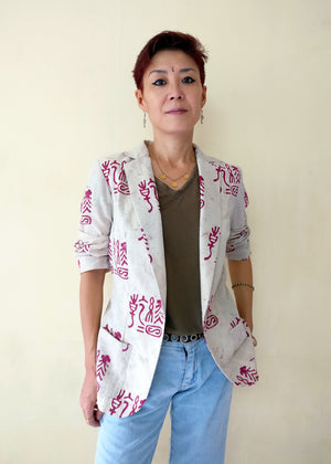 MIRCHI KOMACHI beige cotton jacket with East Asian ancient characters block-printed is cute casual clothes for ladies. Printed blazers are great for the casual street style, especially when it's perfectly light for Indian climate. Shop online!