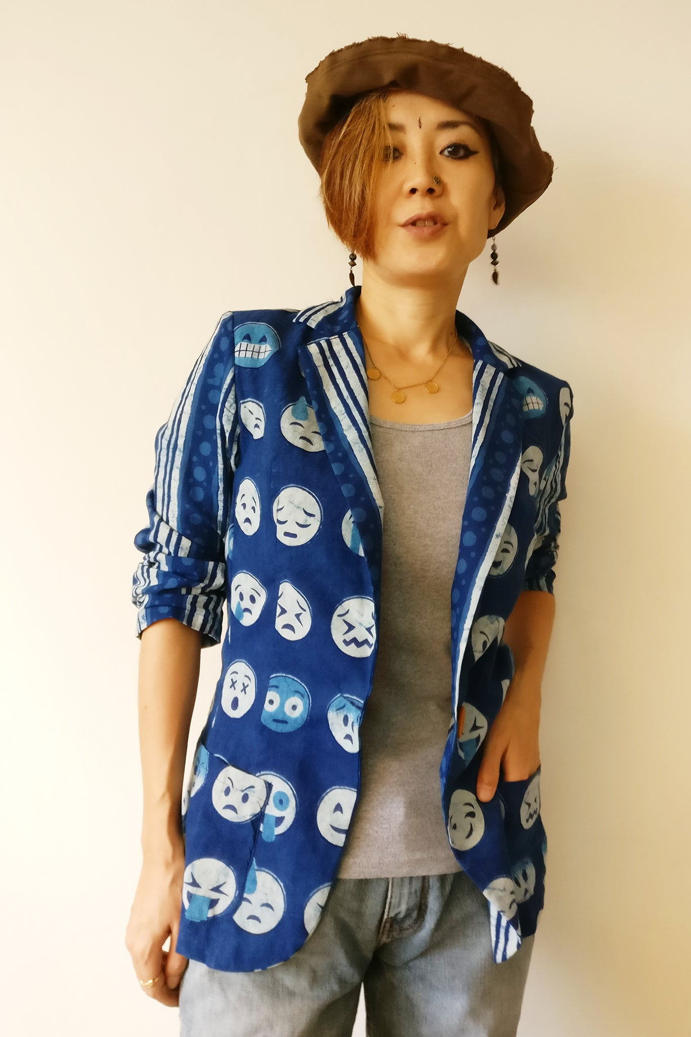 MIRCHI KOMACHI indigo cotton jacket with Emoji hand-printed is a cute fun casual item for ladies. Social media professional? Emoji expert? This is for you! Shop online!