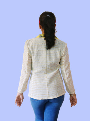 Blazer Jacket - Khadi & Faces Print