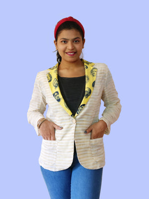 Front: Cool and light Khadi cotton blazer jacket for women with a modern print of faces. Talk about mix & match! Create your own unique outfits with this. Shop online!