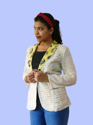 Profile: Cool and light Khadi cotton blazer jacket for women with a modern print of faces. Talk about mix & match! Create your own unique outfits with this. Shop online!