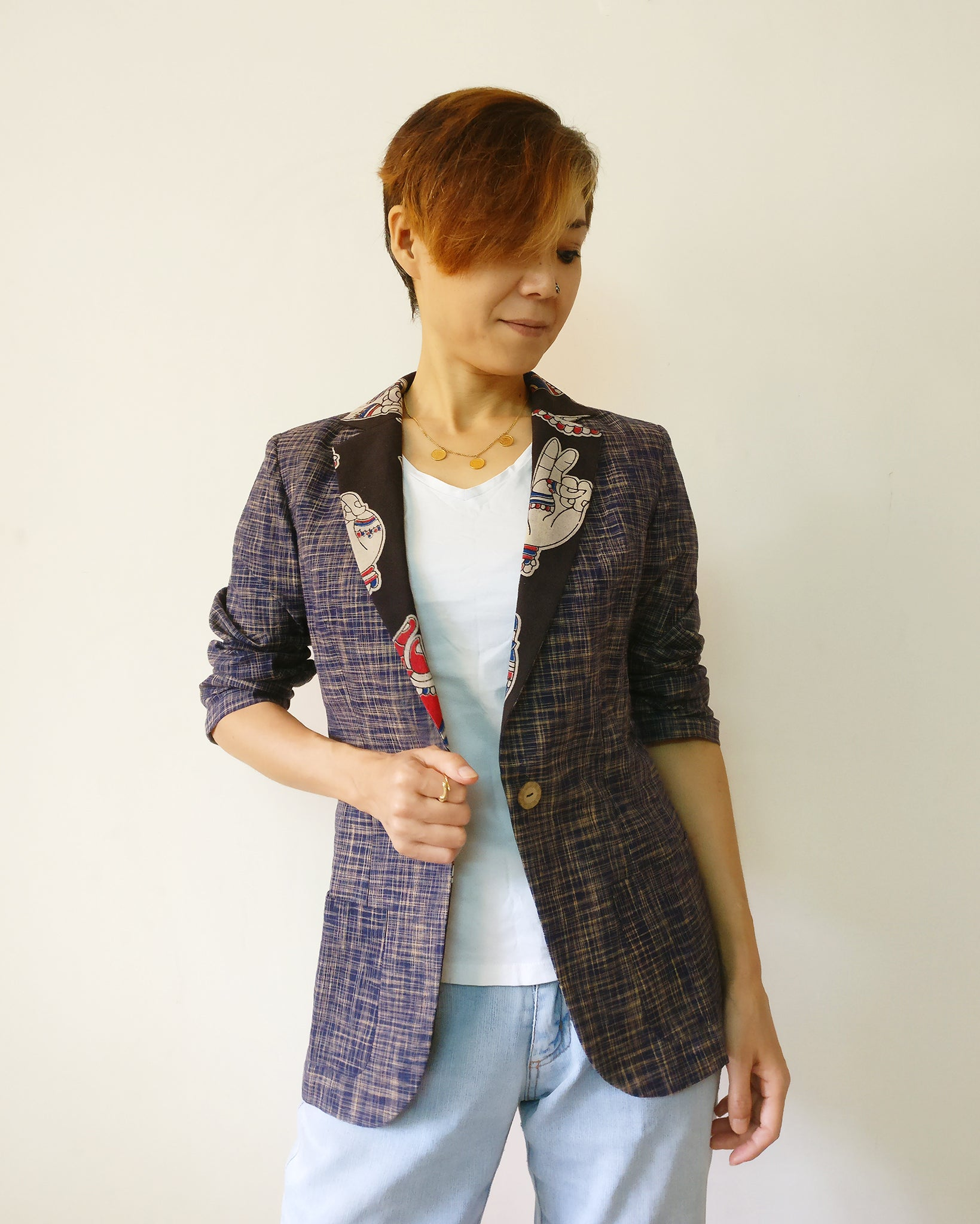 d04e8bbbd492a8 Light blazer jacket for women with navy cotton Khadi and Kalamkari. The  combination made it