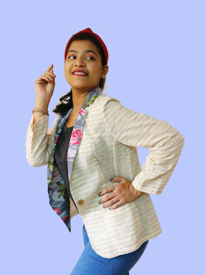 Profile: Cool and light Khadi cotton blazer jacket with Aloha tropical print for ladies. Talk about mix & match! Create your own unique outfits with this. Shop online!
