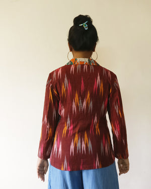 Ikat is always in Indian women's heart. For public demand, Ikat + Kalamkari/print cotton blazer jackets are back. Enjoy chic yet fun stylings with versatile ruby Ikat. Shop online!
