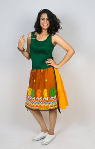 MIRCHI KOMACHI yellow Tiered Skirt is a quirky fun item with Indian handloom cotton. The vivid colours and the handicraft details would make your day! Shop online!