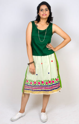 MIRCHI KOMACHI green Tiered Skirt is a quirky fun item with Indian handloom cotton. The vivid colours and the handicraft details would make your day! Shop online!