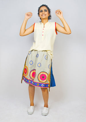 MIRCHI KOMACHI blue Tiered Skirt is a quirky fun item with Indian handloom cotton. The vivid colours and the handicraft details would make your day! Shop online!