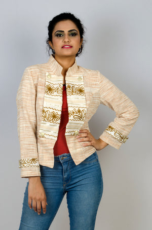 MIRCHI KOMACHI ladies / women's cotton Khadi beige light Military Jacket is a gorgeous Indo-Western item! Great silhouette with short length. Can be matched with Indian or Western items. Shop online!