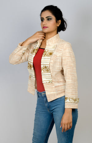 MIRCHI KOMACHI cotton Khadi beige light Military Jacket is a gorgeous Indo-Western item for women! Great silhouette with short length. Can be matched with Indian or Western items. Shop online!