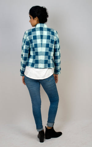 Military Jacket - Plaid (Blue Green)