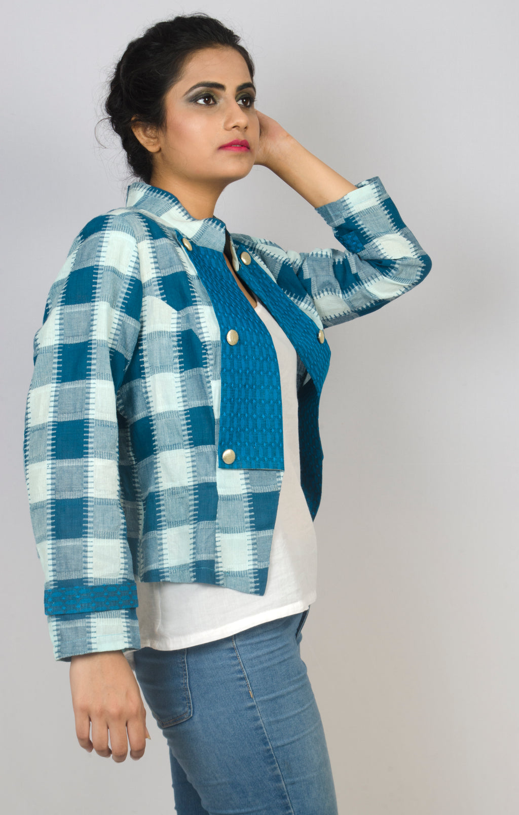 MIRCHI KOMACHI ladies / women's blue green light Military Jacket is a cute Indo-Western item! Made with very comfortable Indian cotton fabric. Great silhouette with short length. Shop online!
