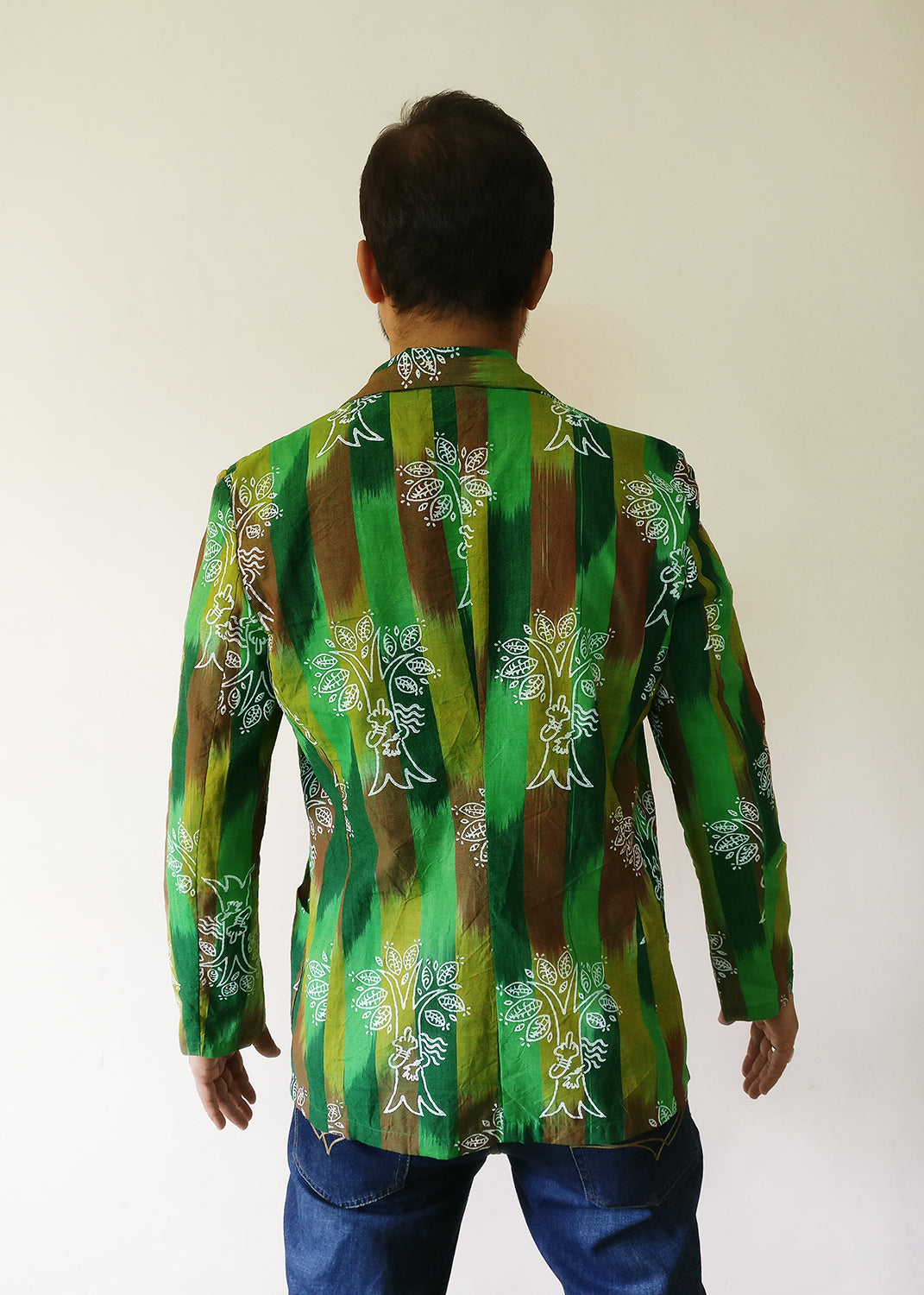 Men's Blazer Jacket - Chipko Didi On Ikat (Green)