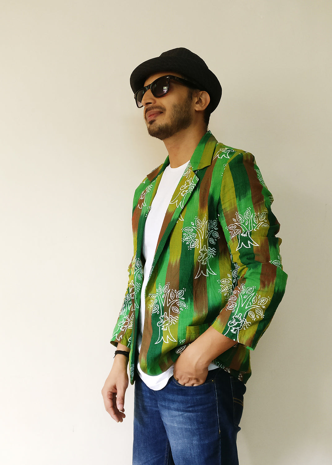 We protect trees, our lifeline, our land, our planet, like the women in Chipko Movement. Statement blazer jacket (green) for men. Handloom cotton with the help of the earth.