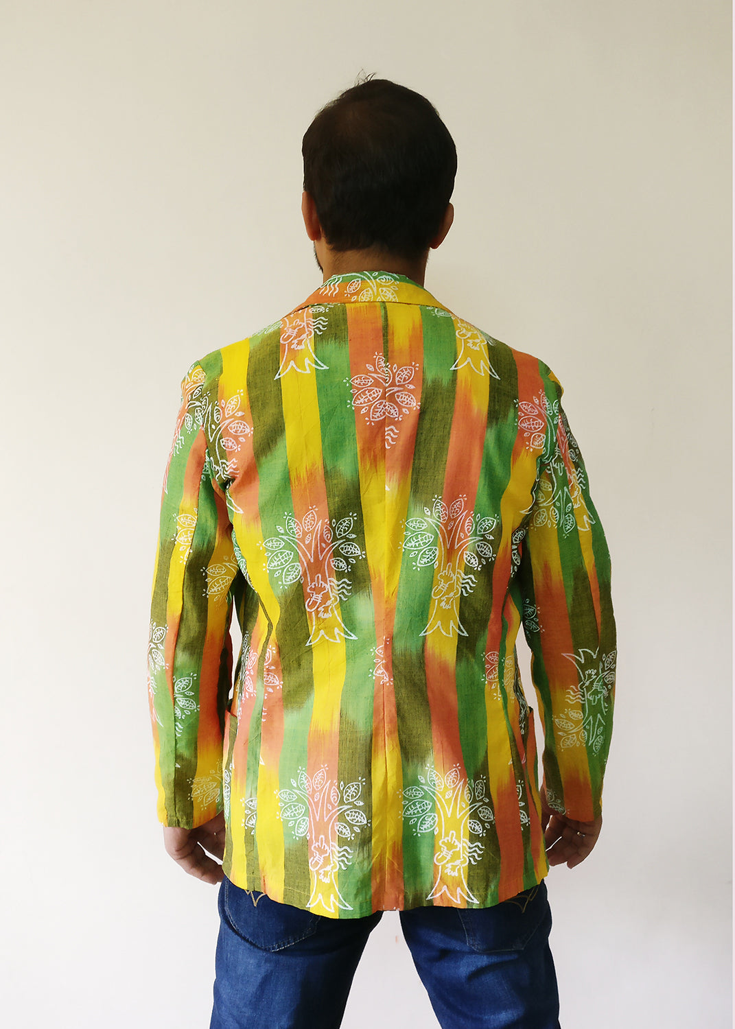 Men's Blazer Jacket - Chipko Didi On Ikat (Yellow)