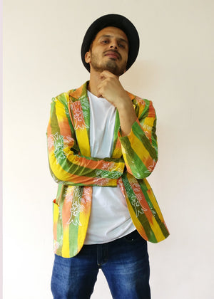 We protect trees, our lifeline, our land, our planet, like the women in Chipko Movement. Statement blazer jacket (yellow) for men. Handloom cotton with the help of the earth.