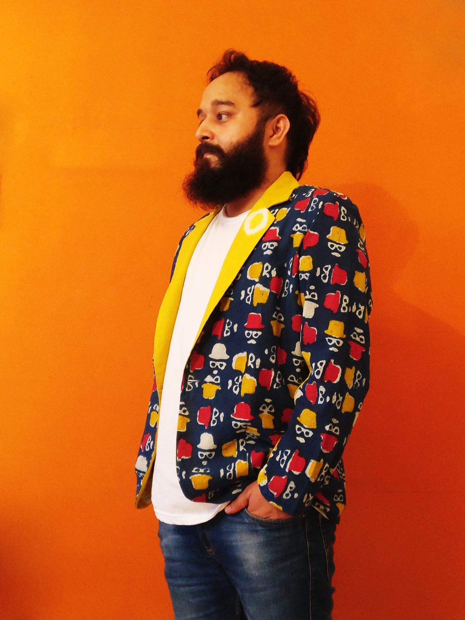 Indigo Cotton Blazer Jacket partially with yellow Shibori for men's body. Quirky yet cool. Shop online!
