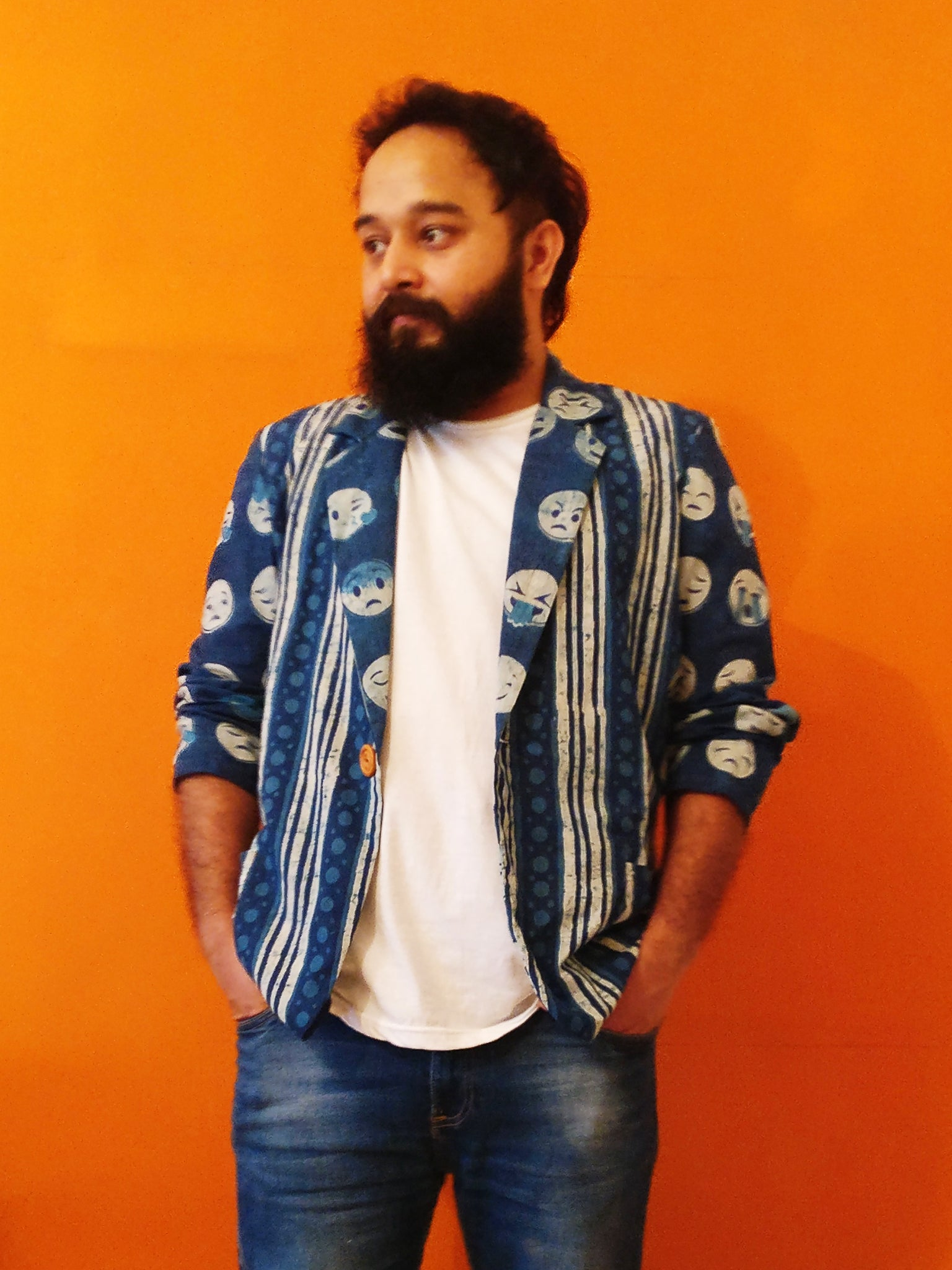 Indigo Cotton Blazer Jacket with Emoji prints for men's body. Quirky yet cool. Shop online!