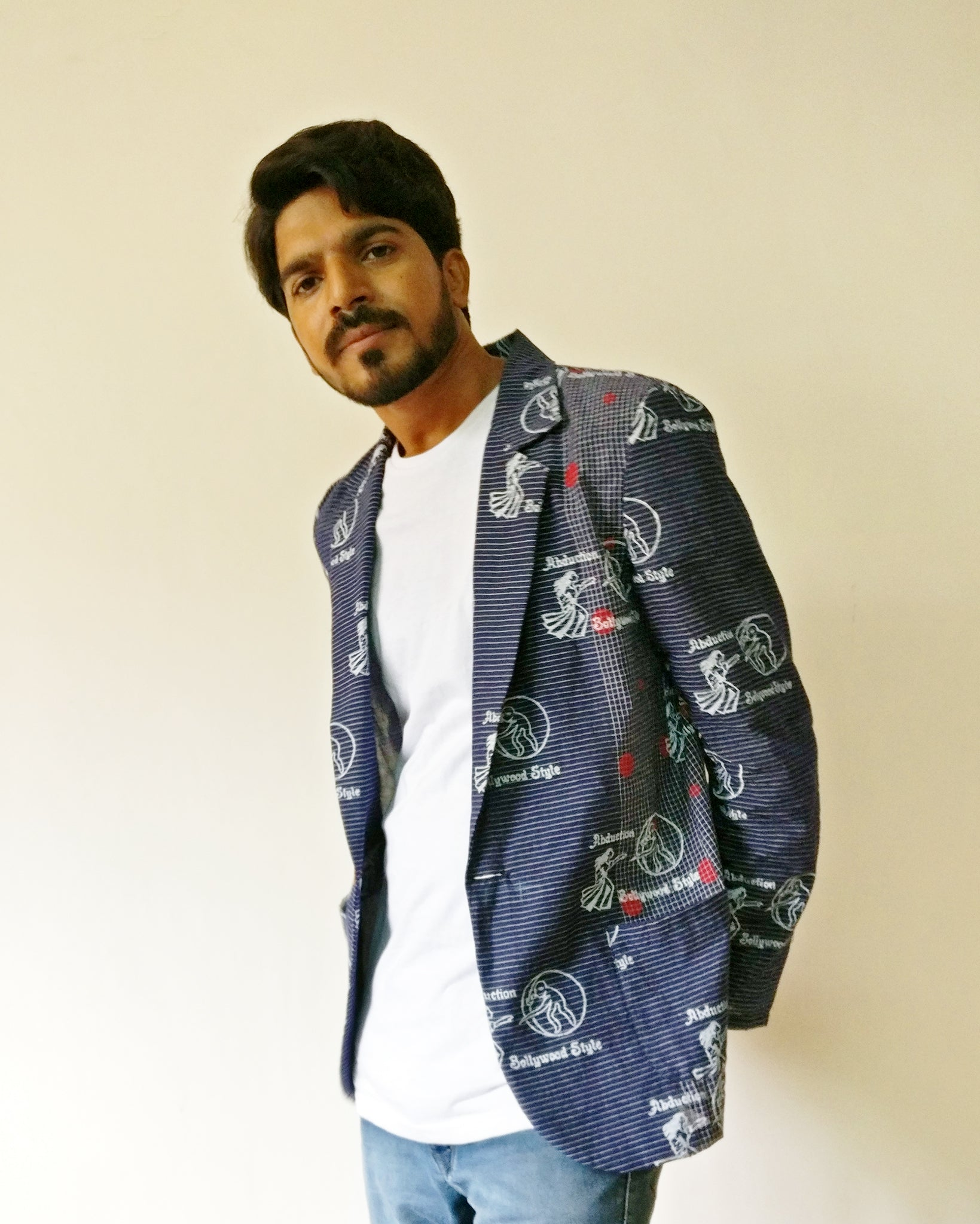 Men's stripe handloom cotton blazer with MIRCHI KOMACHI's 3rd original block print inspired by DDLJ. Wear this and be a sweet lover to your Simran! Come... fall in love, shop online.