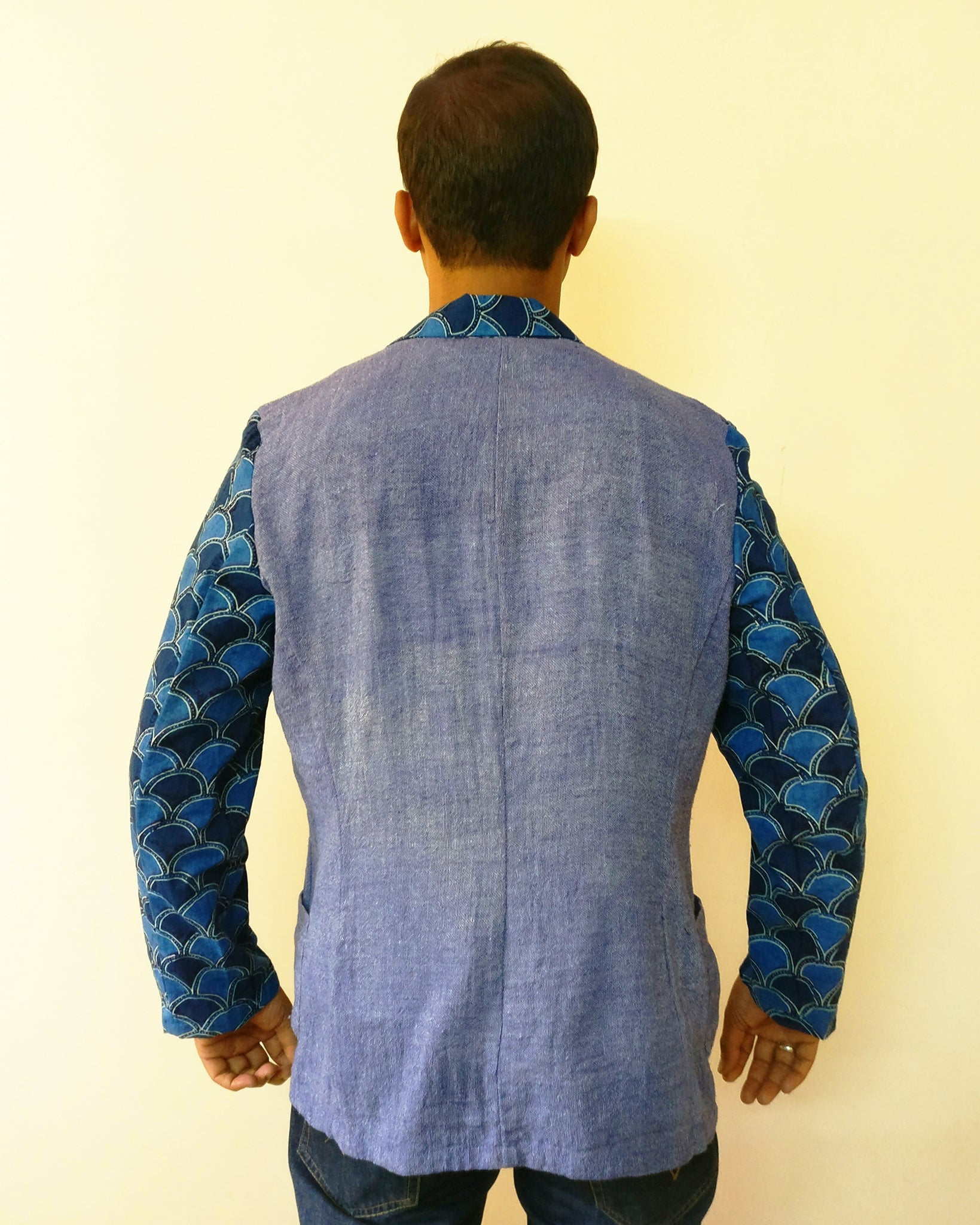Men's Blazer Jacket - Jute Linen Mix & Ajrakh
