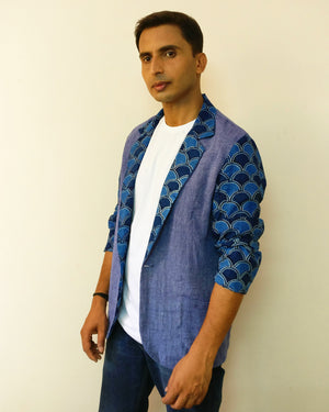 Blazer jacket with cotton, linen & jute mix fabric for men. Great for summer and humid seasons. Very versatile denim-ish colour. Shop online!