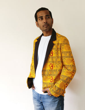 Beautiful and deep Om, shloka, and Hindu symbols on a cool cotton blazer jacket for men. Wear it in an ethnic-fusion way, or in a funky way, it's all up to you! Shop online.