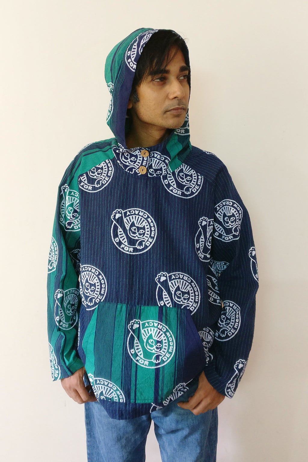 "Unisex handloom cotton pullover hoodie (navy) with original print ""DeMeowCracy (Democracy) Cat"". This is a statement to protect our base. We made this pullover for you who fight for an equal and diverse society India. Shop online."