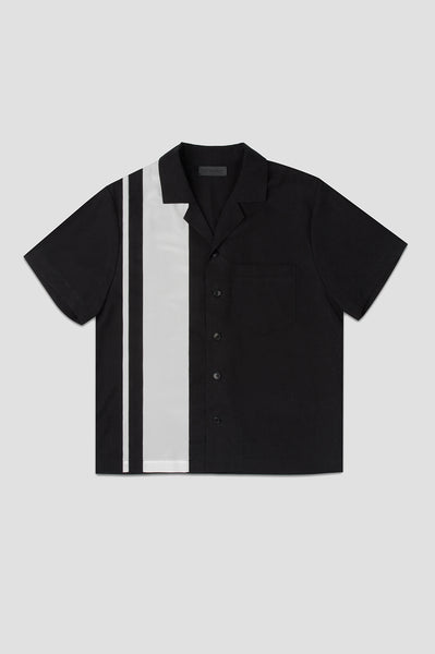TENCEL/SILK BOWLING SHIRT IN BLACK
