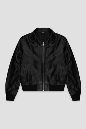 Mens luxury leather jacket black