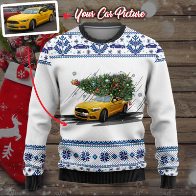 Personalized Car Christmas Tree Wool Ugly Sweater V2