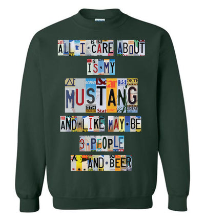 All I Care About Mustang - License Plate T-shirt