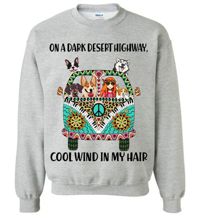 On a Dark Desert Highway Cool Wind in My Hair Hippie Dogs T-shirt