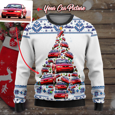 Personalized Car Christmas Tree Wool Ugly Sweater V1