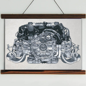 Nine-one-one Flat-Six Engine Framed Canvas Wall Art
