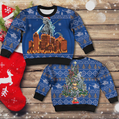 Godzilla Christmas Sweater - Kid Version