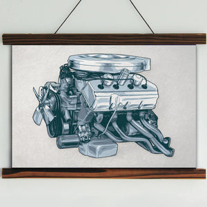 426 Hemi Engine Framed Canvas Wall Art