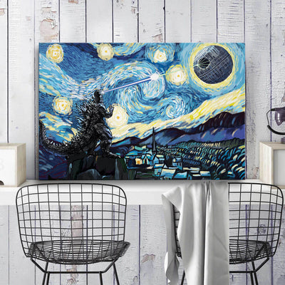 Godzilla vs DS Starry Night Canvas Wall Art