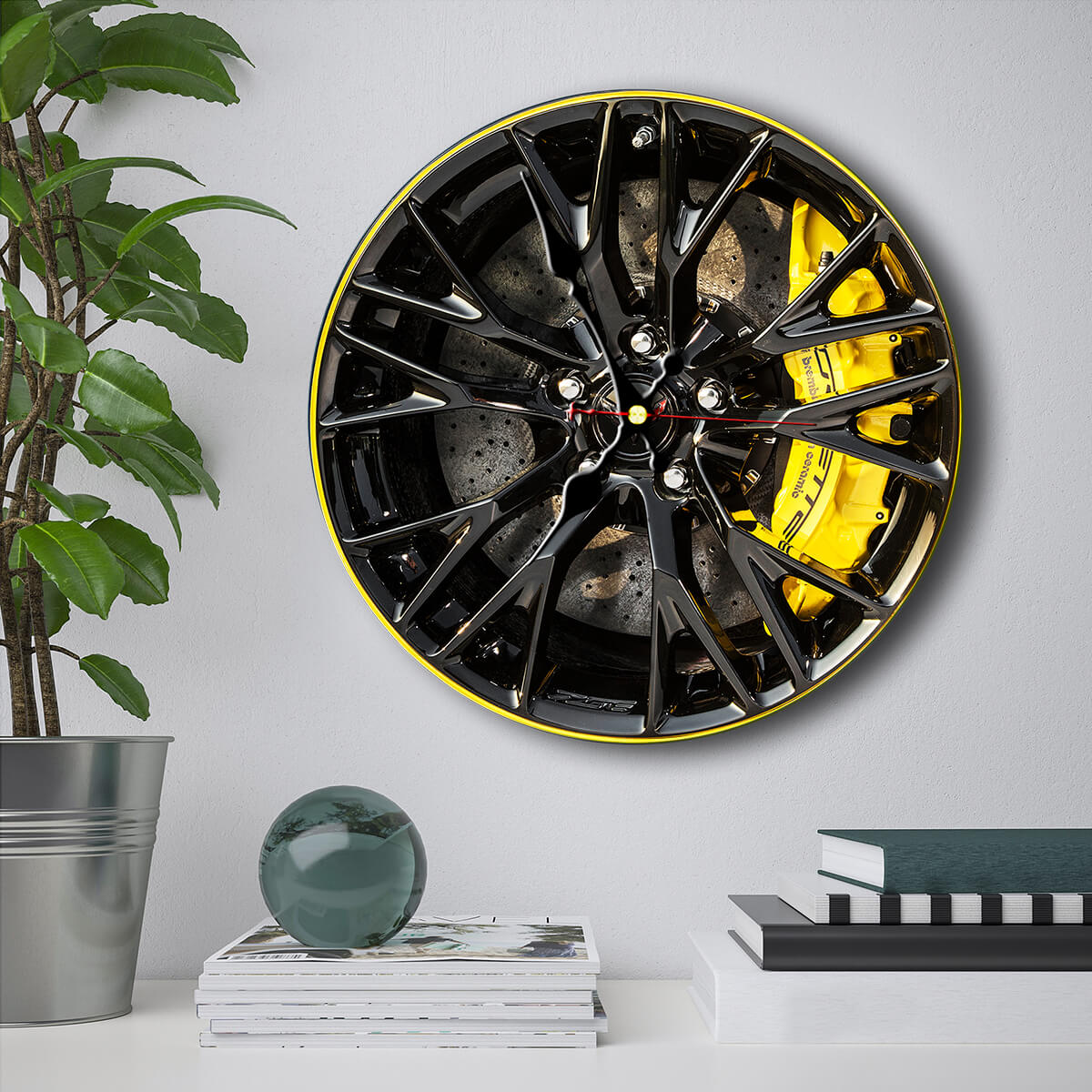 Vette Wheels Art Wall Clock