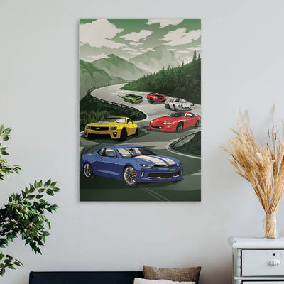 Racing Camaro Canvas Wall Art