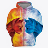 Fire Cat vs Ice Cat 3D Printed Hoodie