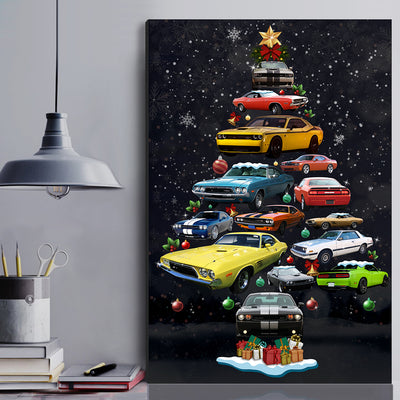 Dodge Challenger Christmas Tree Canvas Wall Art