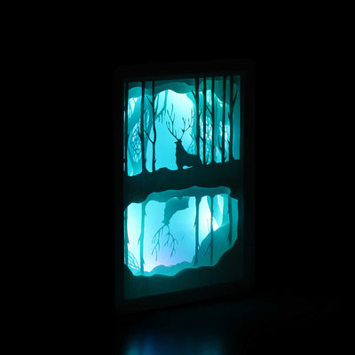 Reindeer In The Forest Shadowbox
