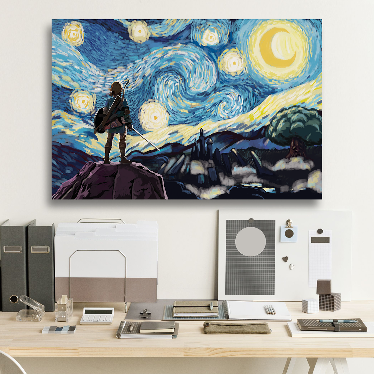 Link Starry Night Framed Canvas Poster