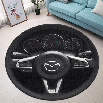 Miata Steering Wheel Collection Round Rug
